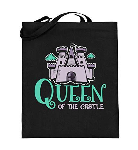 Queen Of The Castle Festival Tasche - Königin Im Schloss Mutter Sohn Partnerlook - Jutebeutel (mit langen Henkeln) -38cm-42cm-Schwarz