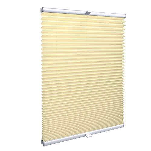 Gardinen21 Plissee nach Maß in der Glasleiste mit Montage | Jalousien Rollo im Wunschmaß | Maßgefertigte Faltstores für Türen und Fenster | Sonnenschutz und Sichtschutz in Beige/Creme