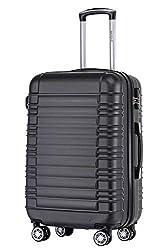 BEIBYE 2088 Zwillingsrollen Reisekoffer Koffer Trolleys Hartschale M-L-XL-Set in 13 Farben (Schwarz, L)