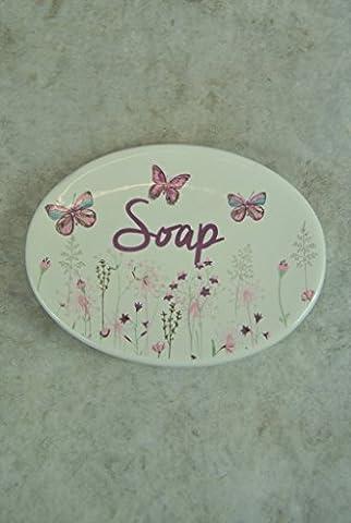 Wildflower Butterflies Cream Pink and Duck Egg Blue Soap