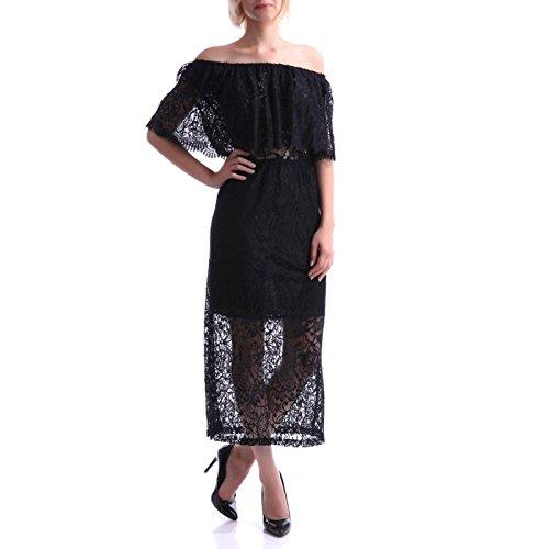 La Modeuse - Robe longue en dentelle dotée d'un col bardot Noir