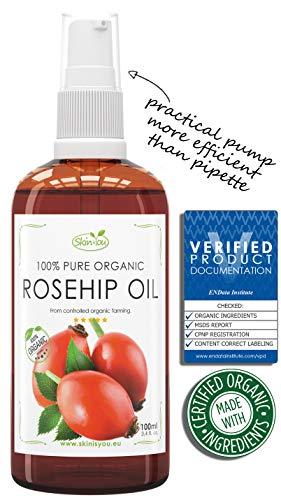Hagebuttenöl 100% Reines Bio Kaltgepresst | 100ml | Anti-Aging, Pflege, Vitamin A/B/C/E reichhaltiges Wildrosenöl | Behandelt Falten, Fältchen, trockene Haut | 100% BIO Gesichtspflege -