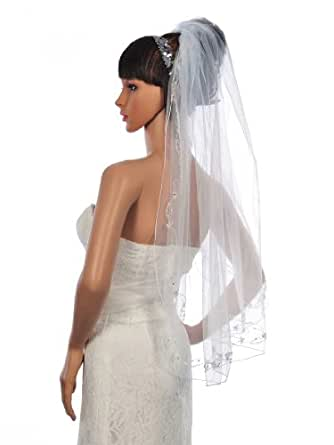 Topwedding voile de mariee bord orne des perles en tulle,Blanc