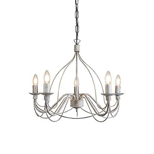 QAZQA Klassisch/Antik/Landhaus/Vintage/Rustikal Klassischer Kronleuchter/Chandelier grau - Zero Branco 5-flammig/Innenbeleuchtung/Wohnzimmerlampe/Schlafzimmer/Küche Metall Rund LED ge