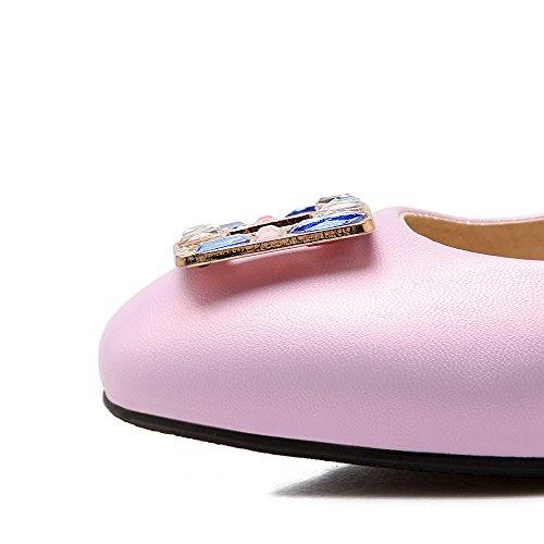 VogueZone009 Femme à Talon Bas Couleur Unie Tire Matière Souple Carré Chaussures Légeres Violet