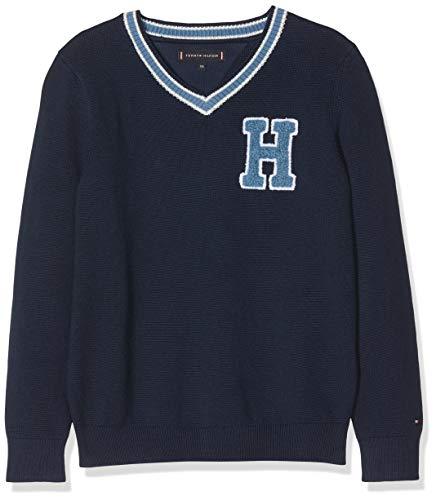 Tommy Hilfiger Jungen Sweatshirt Cricket V-Neck Sweater Blau (Black Iris 002) 152 (Herstellergröße: 12)
