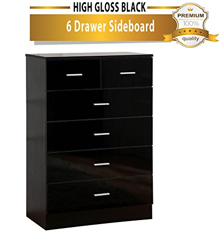 High Gloss Black 6 Drawer Sideboard / Cupboard / Buffet / Chest