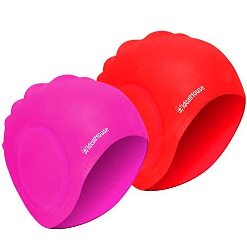 Blufied Badekappe, wasserdichter Schwimmen-Hut für erwachsene Männer Frauen Silikon Schwimmen-Kappen Hüte für langes Haar Kurzes Haar-2 Pack (Rosa+Rot)