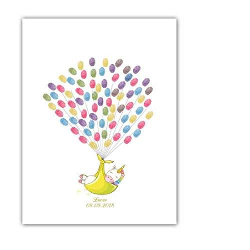 Yqgdss Baby Vollmond Geburtstag Baby Dusche Cartoon Einhorn Fingerabdruck Zeichen In Malerei Unterschrift Buch Wohnkultur Kinder Geschenk, 30X40 cm (Buch In Baby-dusche-zeichen)