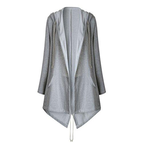 QHGstore Frauen Kleidung Jacke Hooded Drawstring Solid Farbe Lang Dünn Kapuzenüberwachen Warm Frühling Herbst Casual Coat Grau L (Trenchcoat Junior)