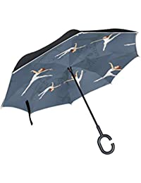 SKYDA Paraguas Plegable diseño de Ballet, Doble Capa, Resistente al Viento, con Mango