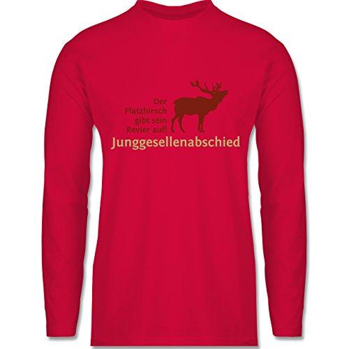 Shirtracer JGA Junggesellenabschied - Platzhirsch - Herren Langarmshirt Rot