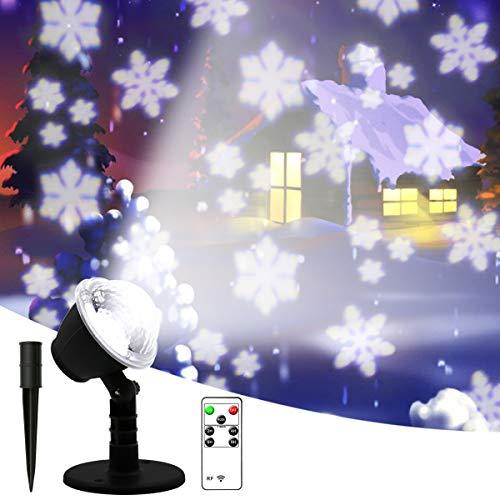 LED Projektionslampe, Schneeflocken Schneefall Effektlicht mit Fernbedienung Timer, Weihnachtsbeleuchtung Außen Innen, Projektor Lampe Weihnachten IP65 Wasserdicht Weihnachtsdeko für Garten