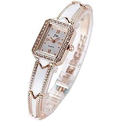 Lady Crystal Decoration Dial Fashion Band Quartz Wrist Watch-Gold