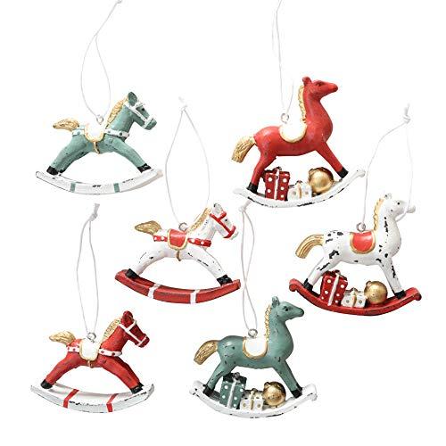 Sconosciuto b&b 6 pezzi cavallo a dondolo in legno rosso bianco ciondolo cavallo in legno decorazione albero di natale