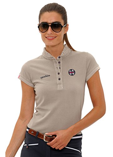 SPOOKS Poloshirt Damen Mädchen Kinder, Polo Shirt Tailliert Sommer Tshirt Hemd Sport - Damenpoloshirts Kurzarm Viola - Sand M