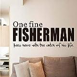 Lovemq One Fine Fisherman Decalcomania Della Parete Del Vinile Smontabile Home Decor Carattere Diy Wall Sticker Decalcomanie Impermeabili Per Soggiorno 59X25 Cm