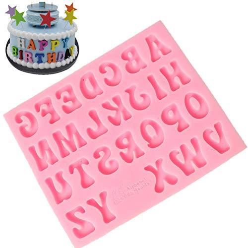 Silikonform für Fondant/Schokolade/Kuchen/Kuchendekoration, Buchstabe Alphabet, Pink