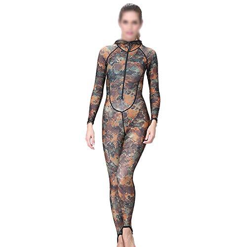 Gxianwengen Damen Camouflage Taucheranzug Siamese Zip Sunscreen Taucheranzug Säure und Alkali mit Brustpolster Mit Kapuze Badeanzug (Farbe : Camouflage, Size : XL)