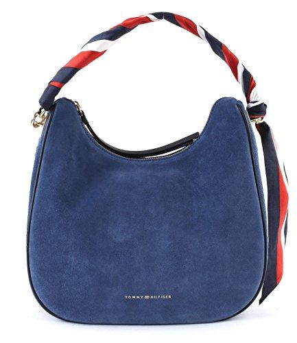 TOMMY HILFIGER Iconic Foulard Leather Small Hobo Suede Dutch Blue (Suede-leder-hobo)