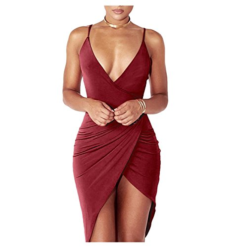 DRESHOW Damen Sexy Deep V-Ausschnitt Ärmelloses Spaghetti-Armband Bodycon Wrap Kleid Vorne Schlitzbandage Midi Club Kleid (Nacht Party Kleid)