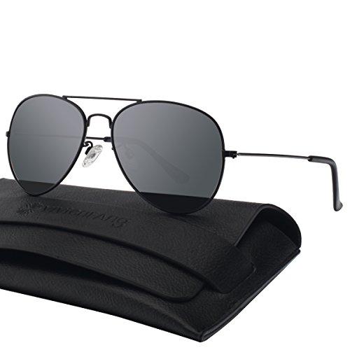 Unisex Silber Spiegel Aviator Flieger Sonnenbrille Reflektierenden Revo-Spiegel Objektiv 85832A(Black,Gray)