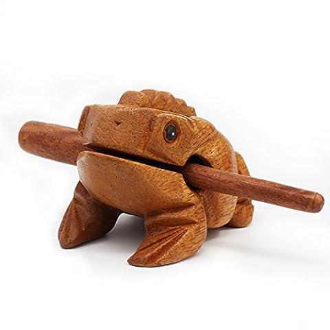Aussel Grenouille en bois de Guiro Guiro moyen avec maillet, Bloc de sons d'instrument de musique, Instrument de percussion équitable