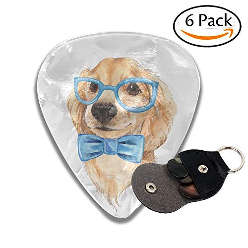 Cute Dog Sketch Blue Bow Tie Hand Painted Watercolor Illustration Stylish Celluloid Guitar Picks Plectrums For Guitar Bass 6 Pack.46mm (Ties Knit Pack)