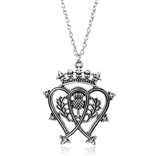 Neues Design Schmuck Schottland Distel Bouquet Herz Blatt Schottische Krone Anhänger Halskette Für Frauen Zubehör Weibliches Geschenk