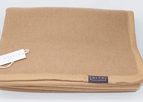 Coccoy coperta matrimoniale in pura lana vergine 100% cammello baby linea lane pregiate art. tuareg var. cammello cm. 270x230 maxi peso invernale 400 gr/mq