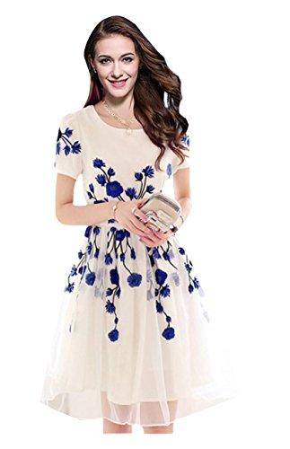 Muta Fashions Georgette White & Blue Women Kurti ( KURTI03_01_Free Size_White &...
