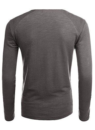 HEMOON Herren V-Ausschnit Sweatshirt Langarmshirt T-shirt Einfarbig Dunkelgrau