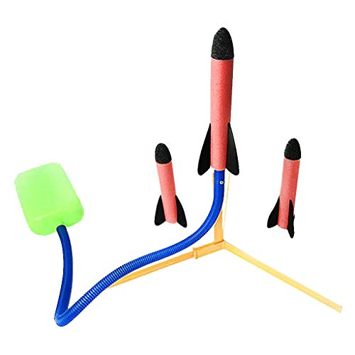 Kinder Pädagogisches Spielzeug - Chshe ⭐⭐ Fußstampfen & Aktionsrakete Starten , Kunststoffraketenwerfer Für Kinder, Outdoor-Sport-Spiele, Freizeit All Open Air -