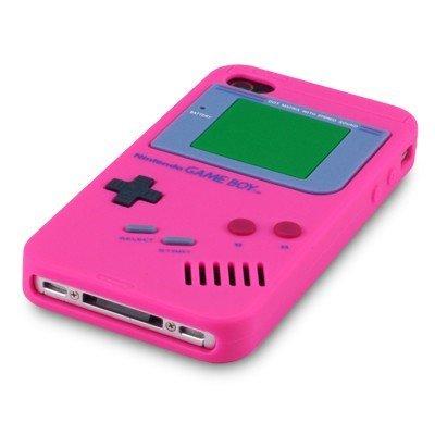 Gameboy Silikon Case Hot Pink & Displayschutzfolie für Apple iPhone 4 4S-Original JAMMYLIZARD & rose