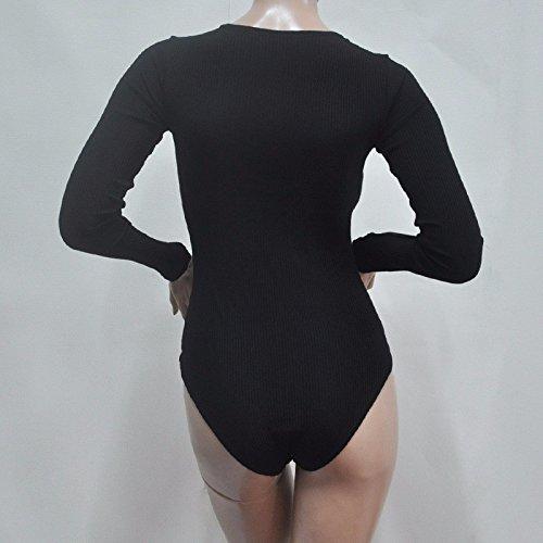 QIYUN.Z Frauen Langarm Tiefem V-Ausschnitt Taille Outfit Bandage Dreieck Overalls Schwarz/1