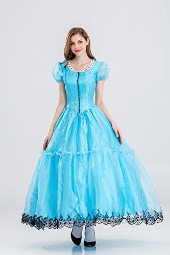 Königin Kostüm Fantasy Fairyland blaue Märchen langes Kleid für Damen Frauen weiblich,XL (Fantasy-custome)