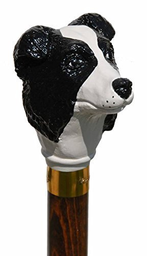 Hand Painted Border Collie Topper Walking Stick by Classic Canes