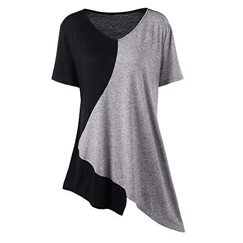 COOKDATE Damen Tops Plus Size Blusen Bluse Shirt Spitze Mode Damen Plus Size Pullover T-Shirt Trim asymmetrische Farbblock Tops Schwarz XL - Trim Fit Shirt