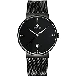 WWOOR Men's Ultra Thin Mesh Band Stainless Steel Male Elite Sports Wrist Watch with Date (Black)
