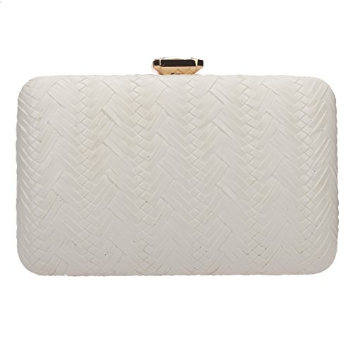 Bonjanvye Big Man Made Diamond PU Leather Weave Evening Bags And Clutches For Women Gold ivory