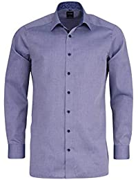 76f52c34 OLYMP Luxor Modern Fit Self Patterned Long Sleeve Shirt - Marine Blue