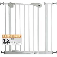 IB-Style - Treppengitter / Türgitter BERRIN | Erweiterbar durch Verlängerungen | 75 - 175 cm | Auto-Close - automatisches Schließen | Metall Weiß| Spannbreite 75 - 85 cm