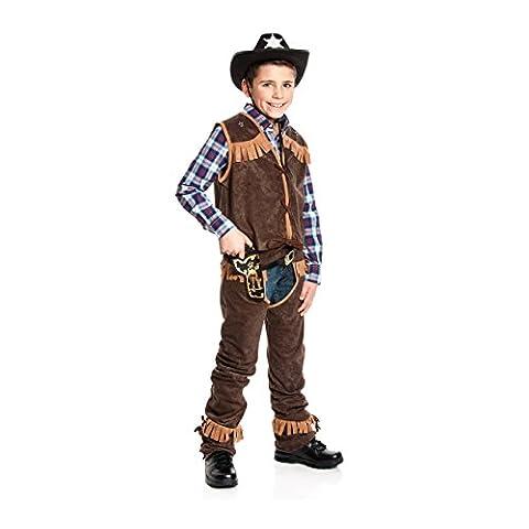 Kostümplanet® Cowboy-Kostüm Kinder Jungs mit Chaps und Weste Wilder Westen Größe 128