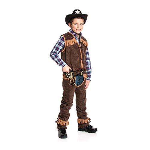 Chaps Cowboy Kostüm - Kostümplanet® Cowboy-Kostüm Kinder Junge mit Chaps und Weste Wilder Westen Größe 164