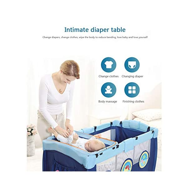 Folding Bassinet, Compact, Portable And Secure Baby Bed, Suitable For 0-4 Years Old / 125 * 66 * 77cm,OceanSeries YXLONG ♔The steel tube frame, 210D polyester, provides a solid and stable structure for your child's safe sleep. Padded top rail for added safety when used. A folding pad base is also included. The fabric can be easily wiped clean and kept dry. ♔This fence has a changer that is more functional than a similar fence. The mother no longer feels tired when changing the baby diaper. The changer is easy to clean so you don't have to worry about hygiene. ♔The versatile travel cot features large picture windows and a functional exit cabin. Your child can crawl through the hatch and climb out of the crib. 2