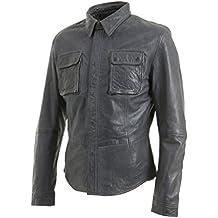 Grigia Retro Jeans Trucker Giacca di pelle reale Uomo Vintage motociclista