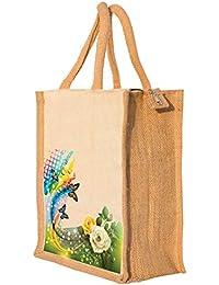 Nisol Floral Patterned Classic Printed Jute Lunch Bag | Tote | Hand Bag | Travel Bag | Gift Bag