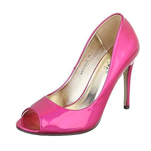 Ital-Design Peep Toe Damen-Schuhe Peep-Toe Pfennig-/Stilettoabsatz High Heels Pumps Pink, Gr 38, Mm02- -