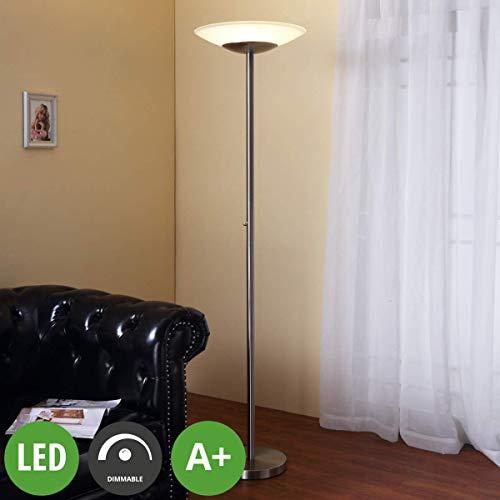 Lampenwelt LED Stehlampe 'Ragna' dimmbar (Modern) in Alu aus Glas u.a. für Wohnzimmer & Esszimmer (1 flammig, A+, inkl. Leuchtmittel) | LED-Deckenfluter, Stehleuchte, Deckenfluter, Wohnzimmerlampe