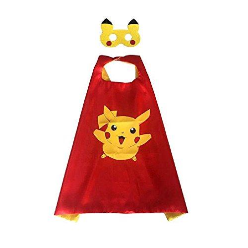 Ducomi® Superhelden-Kostüm mit Kapuze und Umhang - Unisex und Kinder 3 bis 10 Jahre (Pikachu Pokemon Red) (Kostüme Beginnend Mit E)